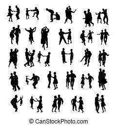 silhouettes, isolé, danse