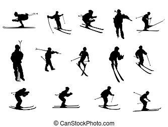 silhouettes, isolé, ski
