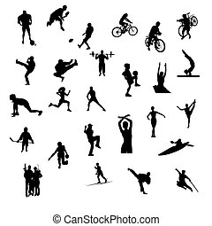 silhouettes, isolé, sports