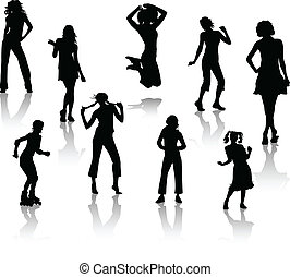 silhouettes, jeune, girls.
