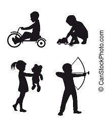 silhouettes, jouer, enfants