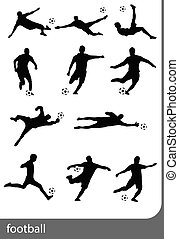 silhouettes., joueurs, football