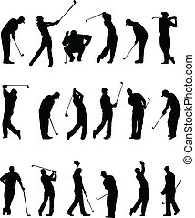 silhouettes, joueurs golf