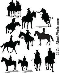 silhouettes., kůň, vektor, jezdec, ilustrace