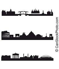 silhouettes, kapitalen, tre