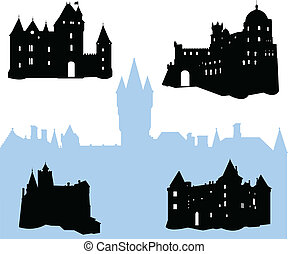 silhouettes, kastelen, vijf