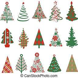 silhouettes, kerstbomen