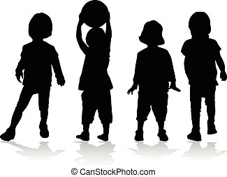silhouettes., kinder