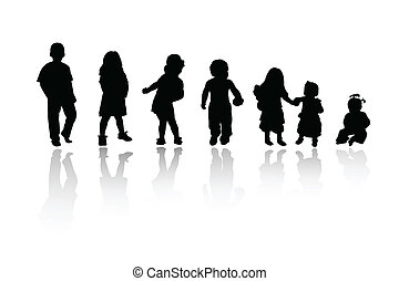 silhouettes, kinderen, -