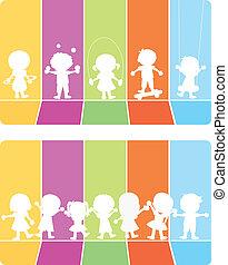 silhouettes, kinderen, achtergrond, vrolijke
