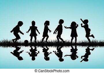 silhouettes, kinderen, buiten, spelend