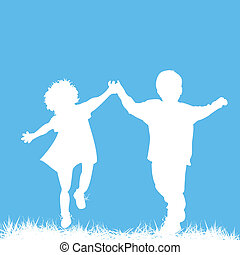silhouettes, kinderen lopende