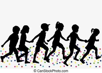 silhouettes, kinderen, run.