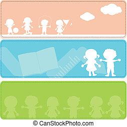 silhouettes, kinderen, spandoek