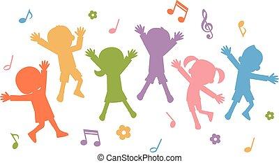 silhouettes, kinderen, springt