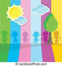 silhouettes, kinderen