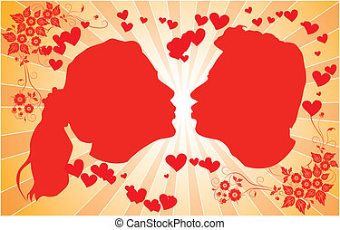 Silhouettes kissing men and women, illustration