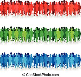 silhouettes, kleurrijke, mensen