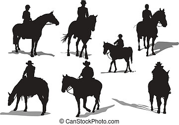 silhouettes., koń, wektor, jeźdźcy, ilustracja