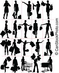silhouettes., kobieta shopping, vecto