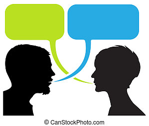 silhouettes, komiker, dialog, remsa