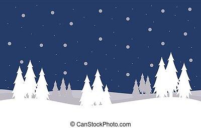 silhouettes, landscape, kerstbomen