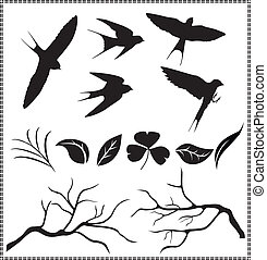 silhouettes, leaves, birds, treebranch