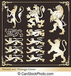silhouettes, leeuwen, heraldisch