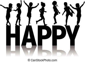 silhouettes, lettres, enfants, heureux