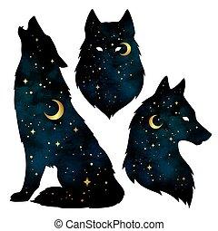 silhouettes, loup, croissant, étoiles, lune