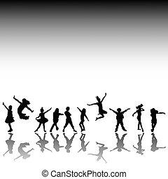 silhouettes, lurar, lycklig