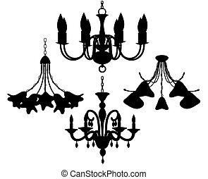 silhouettes, lustre, ensemble