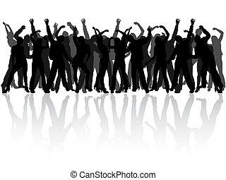 silhouettes, lycklig, folk