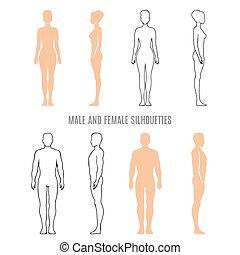 silhouettes, mâle, femme