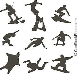silhouettes., mężczyźni, skokowy, wektor, wspinaczkowy,...