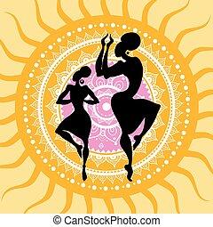 silhouettes., mandala., ダンサー, indian