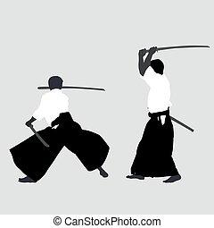 silhouettes, mannen, beoefenen, aikido