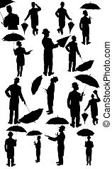 silhouettes, mannen, kostuum