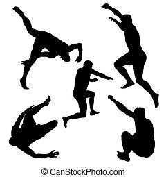 silhouettes, mannen, springt