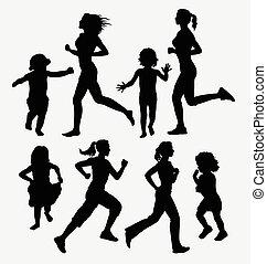 silhouettes, meisje, rennende , kinderen