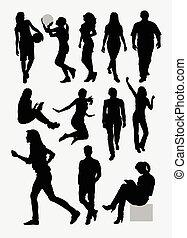 silhouettes, mensen, activiteit