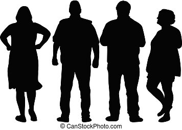 silhouettes., mensen., groep, mensenmassa