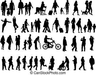 silhouettes, mensen, op, 50
