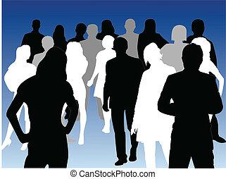 silhouettes, mensen zaak