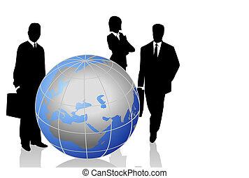 silhouettes, met, een, wereldbol