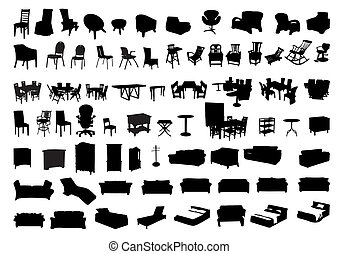 silhouettes, meubles, icône