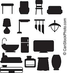 silhouettes, meubles, objet