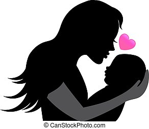 silhouettes mother and baby