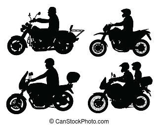 silhouettes, motocycliste
