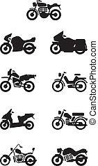 silhouettes motorbikes / motorcycle
